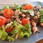 Salade de lentilles au thon et à la coriandre