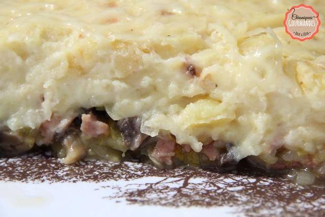 Parmentier de jambon, poireaux et champignons de paris